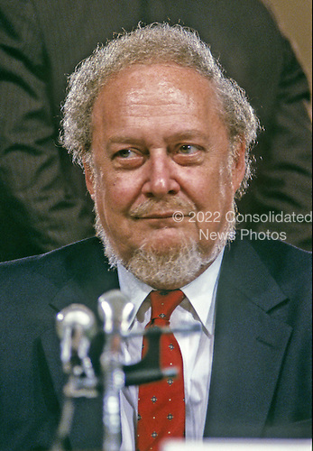 Judge Robert H. Bork, United States President Ronald Reagan's nominee for Associate Justice of the U.S. Supreme Court, waits to testify before the U.S. Senate Judiciary Committee during his confirmation hearing on September 15, 1987.  Bork passed away on December 19, 2012..Credit: Arnie Sachs / CNP