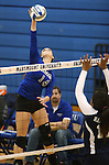 Marymount's Erin Allison gets a kill in a college volleyball match against PSU Harrisburg at Marymount University in Arlington, Vir., on Wednesday, Oct. 9, 2013.<br /> Photo by Cathleen Allison