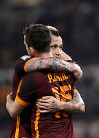 Calcio, Serie A: Roma vs Frosinone. Roma, stadio Olimpico, 30 gennaio 2016.<br /> Roma&rsquo;s Miralem Pjanic, left, celebrates with teammate Radja Nainggolan, after scoring during the Italian Serie A football match between Roma and Frosinone at Rome's Olympic stadium, 30 January 2016.<br /> UPDATE IMAGES PRESS/Isabella Bonotto