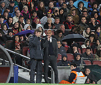 10.04.2012 Bacelona, Spain. La Liga. Picture show Tito Vilanova (L) and Pep Guardiola (R) in action during match between FC Barcelona against Getafe at Camp Nou