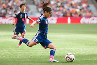 June 23, 2015: Nahomi KAWASUMI of Japan kicks the ball during a round of 16 match between Japan and Netherlands at the FIFA Women's World Cup Canada 2015 at BC Place Stadium on 23 June 2015 in Vancouver, Canada. Japan won 2-1. Sydney Low/AsteriskImages.com