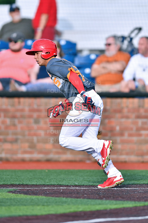 Johnson City Cardinals center fielder Jonatan Machado (51) runs to first base during a game against the Pulaski Yankees at TVA Credit Union Ballpark on July 7, 2018 in Johnson City, Tennessee. The Cardinals defeated the Yankees 7-3. (Tony Farlow/Four Seam Images)