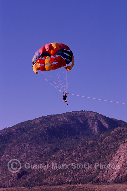 Parasailing over Osoyoos Lake, Osoyoos, BC, South Okanagan Valley, British Columbia, Canada, Summer