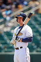 Montgomery Biscuits designated hitter Nick Ciuffo (14) on deck during a game against the Mississippi Braves on April 25, 2017 at Montgomery Riverwalk Stadium in Montgomery, Alabama.  Mississippi defeated Montgomery 3-2.  (Mike Janes/Four Seam Images)