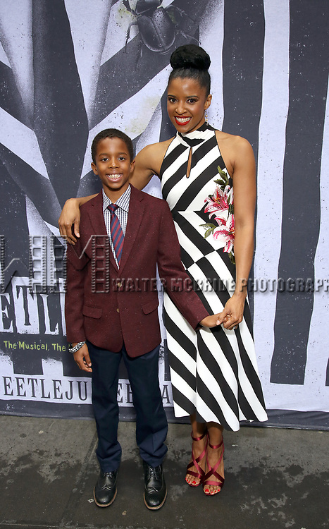 """Benjamin Johnson and Renee Elise Goldsberry attends the Broadway Opening Night Performance for """"Beetlejuice"""" at The Wintergarden on April 25, 2019  in New York City."""