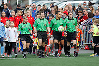 Rochester, NY - Saturday May 21, 2016: The game officials lead the teams onto the field prior to the start of the match. The Western New York Flash defeated Sky Blue FC 5-2 during a regular season National Women's Soccer League (NWSL) match at Sahlen's Stadium.