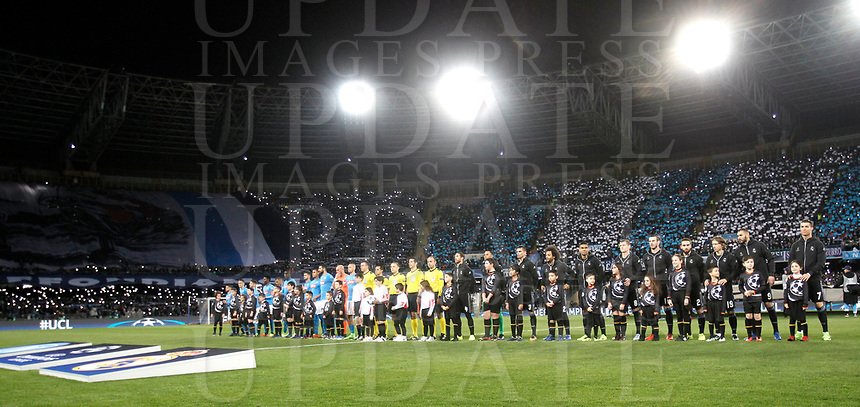 Football Soccer: UEFA Champions League Round of 16 second leg, Napoli-Real Madrid, San Paolo stadium, Naples, Italy, March 7, 2017. <br /> Napoli and Real Madrid teams line up prior to the start of the Champions League football soccer match between Napoli and Real Madrid at the San Paolo stadium, 7 March 2017. <br /> Real Madrid won 3-1 to reach the quarter-finals.<br /> UPDATE IMAGES PRESS/Isabella Bonotto
