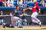 11 March 2014: New York Yankees catcher Brian McCann attempts a tag on Tyler Moore during a Spring Training game against the Washington Nationals at Space Coast Stadium in Viera, Florida. The Nationals defeated the Yankees 3-2 in Grapefruit League play. Mandatory Credit: Ed Wolfstein Photo *** RAW (NEF) Image File Available ***