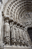 Portal of the last judgment, 1220-1250, central cathedral door, Notre Dame de Paris, 1163 ? 1345, initiated by the bishop Maurice de Sully, Ile de la Cité, Paris, France. Picture by Manuel Cohen