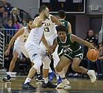 Colorado State's Prentiss Nixon drives past Nevada's Kendall Stephens in the first half of an NCAA college basketball game in Reno, Nev., Sunday, Feb. 25, 2018. (AP Photo/Tom R. Smedes)