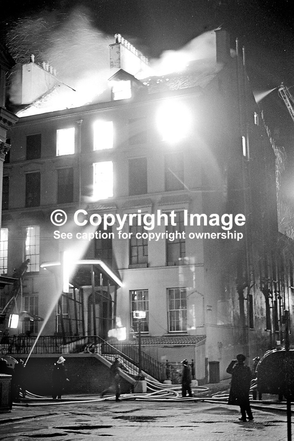 Firemen at the scene of a blaze at the Melville Hotel, Foyle Street, Londonderry, N Ireland. Two firemen, Leonard McCartney and Lexie Wylie, died in the outbreak. 197111000467AAA<br />