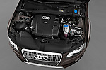 High angle engine detail of a 2011 Audi A4 Allroad Quattro 2.0l TDI 5 Door Wagon
