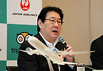 "September 11, 2017, Tokyo, Japan - Japane Airlines (JAL) president Yoshiharu Ueki speaks before press at the JAL headquarters in Tokyo on Monday, September 11, 2017. World's largest travel site TripAdvisor and JAL announced a strategic partnership and JAL will launch a website of ""Untold Stories of Japan"" on the TripAdvisor website from October for the promotion of tourism in Japan. (Photo by Yoshio Tsunoda/AFLO) LWX -ytd-"