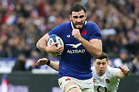 2nd February 2020, Stade de France, Paris; France, 6-Nations International rugby union, France versus England;   Charles Ollivon (France) breaks tackles and goes in to score his try