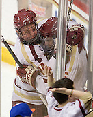 Bill Arnold (BC - 24), Patrick Wey (BC - 6) - The Boston College Eagles defeated the Merrimack College Warriors 4-2 to give Head Coach Jerry York his 900th collegiate win on Friday, February 17, 2012, at Kelley Rink at Conte Forum in Chestnut Hill, Massachusetts.