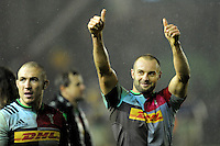Ross Chisholm of Harlequins celebrates with fans after winning the Premiership Rugby match between Harlequins and Saracens - 09/01/2016 - Twickenham Stoop, London<br /> Mandatory Credit: Rob Munro/Stewart Communications