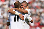 09 August 2009: Real Madrid's Arjen Robben (NED) (11) celebrates his goal with Pepe (POR). Real Madrid of Spain's La Liga defeated DC United of Major League Soccer 3-0 at FedEx Field in Landover, Maryland in an international club friendly soccer match.