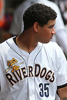 Charleston Riverdogs designated hitter Gary Sanchez #35 in the dugout between innings during a game against the Savannah Sand Gnats at Joseph P. Riley Jr. Park on May 16, 2012 in Charleston, South Carolina. Charleston defeated Savannah by the score of 14-5. (Robert Gurganus/Four Seam Images)