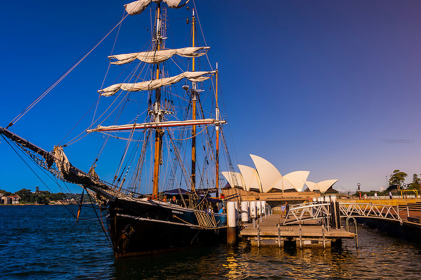 """The tall ship """"Southern Swan"""" with the Sydney Opera House behind, Sydney, New South Wales, Australia"""