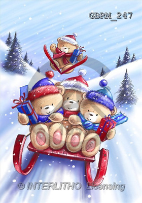 Roger, CHRISTMAS ANIMALS, paintings, XmasBoySledge2_1(GBRM247,#XA#) Weihnachten, Navidad, illustrations, pinturas