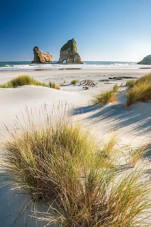 Archway Islands, Wharariki Beach, Golden Bay, New Zealand - stock photo, canvas, fine art print
