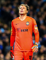 Shakhtar Donetsk's Andriy Pyatov reacts after conceding a fifth goal<br /> <br /> Photographer Alex Dodd/CameraSport<br /> <br /> UEFA Champions League Group F - Manchester City v Shakhtar Donetsk - Wednesday 7th November 2018 - City of Manchester Stadium - Manchester<br />  <br /> World Copyright © 2018 CameraSport. All rights reserved. 43 Linden Ave. Countesthorpe. Leicester. England. LE8 5PG - Tel: +44 (0) 116 277 4147 - admin@camerasport.com - www.camerasport.com