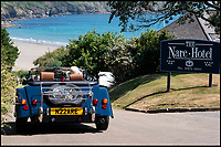 Seaside hotel offers lovely Morgan car to guests.
