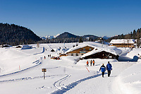 Deutschland, Bayern, Chiemgau: Schneelandschaft auf der Winklmoosalm - Skihuette | Germany, Bavaria, Chiemgau: winter landscape at Winklmoosalm - ski hut