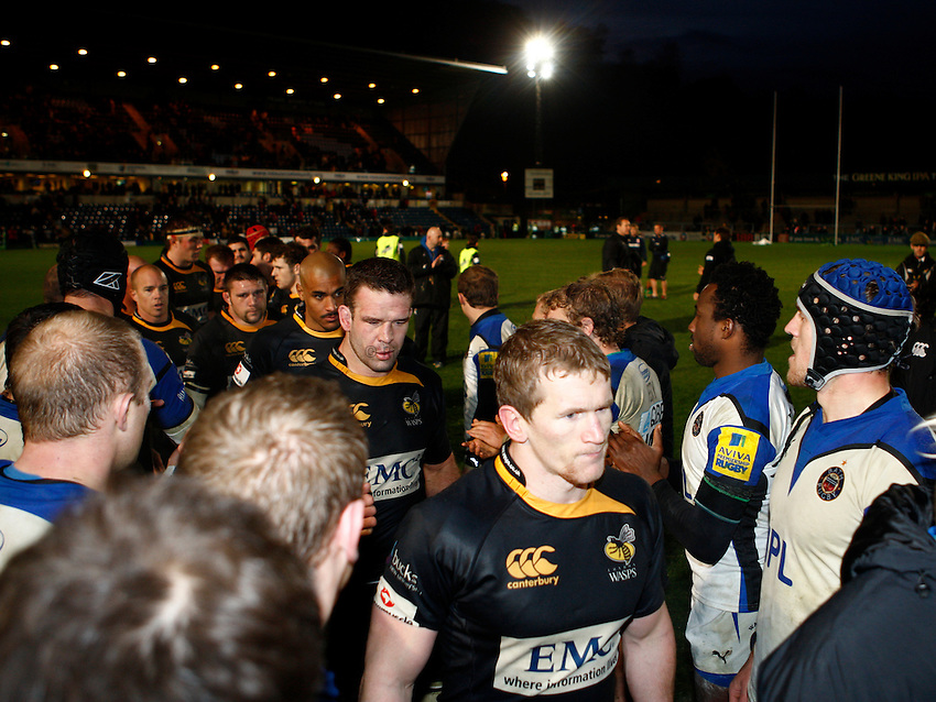 Photo: Richard Lane/Richard Lane Photography. London Wasps v Bath Rugby. LV=Cup. 14/11/2010. Wasps captain, Tom Rees leads the team off.