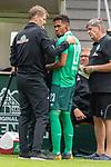 07.07.2019, Parkstadion, Zell am Ziller, AUT, PSP SV WERDER BREMEN vs WSG SWAROVSKI TIROL<br /> <br /> im Bild / picture shows <br /> <br /> <br /> Theodor Gebre Selassie (Werder Bremen #23) wird behandelt und muss ausgewechselt werden<br /> <br /> Foto © nordphoto / Kokenge