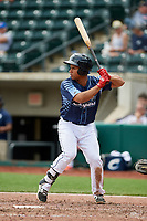 Columbus Clippers designated hitter Francisco Mejia (12) at bat during a game against the Gwinnett Stripers on May 17, 2018 at Huntington Park in Columbus, Ohio.  Gwinnett defeated Columbus 6-0.  (Mike Janes/Four Seam Images)