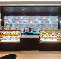This custom commercial installation features Mirage, a handmade mosaic shown in hand-chopped and tumbled Kay's Green, Celeste, Thassos, Blue Macauba, Blue Bahia, and Ming Green.<br />