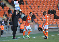 Blackpool's Chris Long comes on to replace Liam Feeney<br /> <br /> Photographer Kevin Barnes/CameraSport<br /> <br /> The EFL Sky Bet League One - Blackpool v Peterborough United - Saturday 13th April 2019 - Bloomfield Road - Blackpool<br /> <br /> World Copyright &copy; 2019 CameraSport. All rights reserved. 43 Linden Ave. Countesthorpe. Leicester. England. LE8 5PG - Tel: +44 (0) 116 277 4147 - admin@camerasport.com - www.camerasport.com