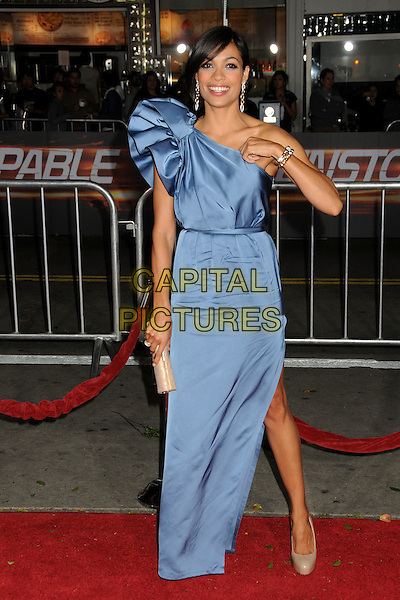 "ROSARIO DAWSON.""Unstoppable"" Los Angeles Premiere held at the Regency Village Theatre, Westwood, California, USA..October 26th, 2010.full length dress blue one shoulder silk satin maxi slit split beige nude shoes clutch bag patent nude platform hand  .CAP/ADM/BP.©Byron Purvis/AdMedia/Capital Pictures."