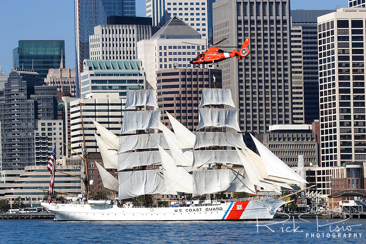 "The USCG Training Barque ""Eagle"" sails under the eastern span of the Bay Bridge during the 2008 San Francisco Festival of Sail. The 295' Training Barque Eagle was originally constructed  in 1936 at the Blohm and Voss Shipyards in Germany with the purpose of training U-Boat crews. Originally commissioned by Germany as the Horst Wessel, the United States took possession of the vessel in 1946 as part of Germany's reparations for the war and it is currently used by the Coast Gaurd for training of United States Coast Guard Academy Cadets. The Eagle is the only active commissioned sailing vessel in the United States' government service. Photographed 07/23/08"