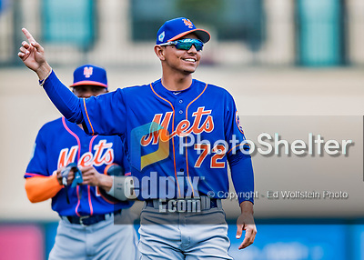 28 February 2019: New York Mets  top prospect infielder Andres Gimenez smiles during warms ups prior to a Spring Training game against the St. Louis Cardinals at Roger Dean Stadium in Jupiter, Florida. The Mets defeated the Cardinals 3-2 in Grapefruit League play. Mandatory Credit: Ed Wolfstein Photo *** RAW (NEF) Image File Available ***