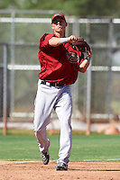 Arizona Diamondbacks minor league infielder Jake Lamb #35 during an instructional league game against the Los Angeles Angels at the Tempe Diablo Minor League Complex on October 1, 2012 in Tempe, Arizona.  (Mike Janes/Four Seam Images)