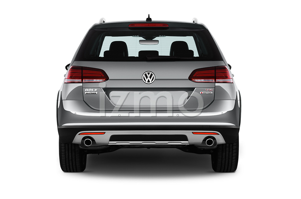 Straight rear view of 2017 Volkswagen Golf Alltrack Base 5 Door Wagon stock images