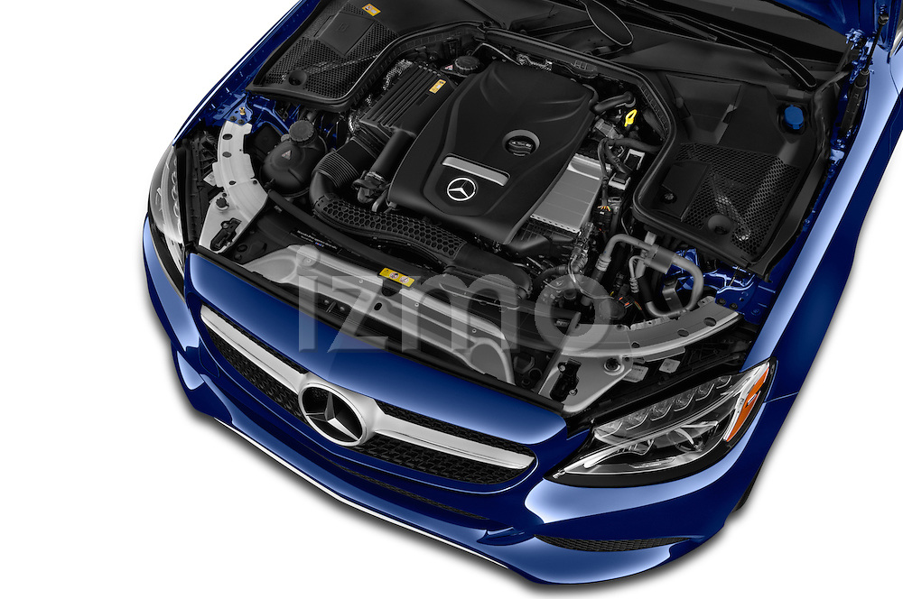 Car Stock 2017 Mercedes Benz C-Class C-300 2 Door Convertible Engine  high angle detail view