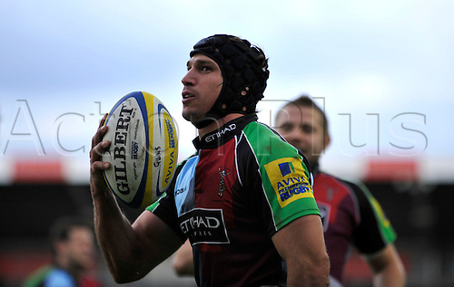25.09.2010 Aviva Premiership Harlequins v Exeter Chiefs from Twickenham Stoop, London, England. Gonzalo Camacho of Harlequins celebrates his try. Harlequins win 40-13.