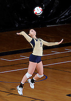 Florida International University women's volleyball player Rachel Fernandez (5) plays against Arkansas State University.  FIU won the match 3-2 on October 21, 2011 at Miami, Florida. .