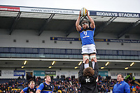 Guy Mercer of Bath Rugby wins the ball at a lineout during the pre-match warm-up. Aviva Premiership match, between Worcester Warriors and Bath Rugby on February 13, 2016 at Sixways Stadium in Worcester, England. Photo by: Patrick Khachfe / Onside Images