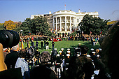 United States President George H.W. Bush hosts a State Arrival ceremony on the South Lawn of the White House honoring President Václav Havel of Czechoslovakia on October 22, 1991.  Havel is visiting Washington for a State Visit.<br /> Credit: Ron Sachs / CNP