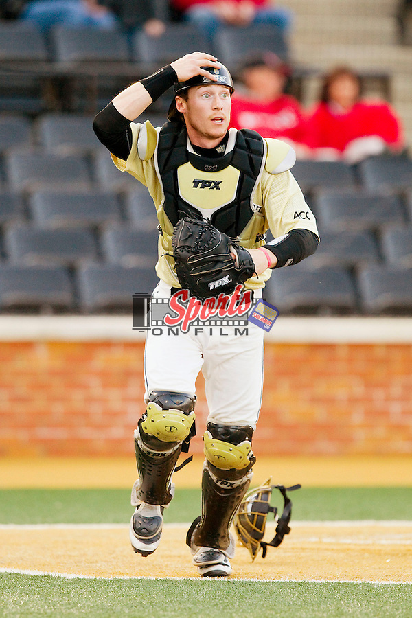 Wake Forest Demon Deacons catcher Brett Armour (6) on defense against the North Carolina State Wolfpack at Wake Forest Baseball Park on March 15, 2013 in Winston-Salem, North Carolina.  The Wolfpack defeated the Demon Deacons 12-6.  (Brian Westerholt/Sports On Film)