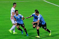 ARMENIA, COLOMBIA - JANUARY 19: Uruguay's Diego Rossi (2nd-L) celebrates his goal during his CONMEBOL Pre-Olympic soccer game against Paraguay at Centenario Stadium on January 19, 2020 in Armenia, Colombia. (Photo by Daniel Munoz/VIEW press/Getty Images)