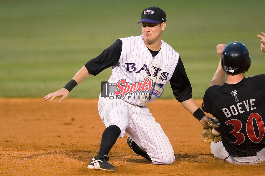 Louisville shortstop Paul Janish (17) applies the tag to Adam Boeve (30) as he tries to steal second base at Louisville Bats Field in Louisville, KY, Wednesday, August 8, 2007.