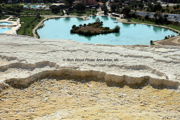 A view of the man made pools at Pamukkale below the terraces of travertine deposits.