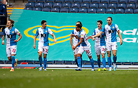 11th July 2020; Ewood Park, Blackburn, Lancashire, England; English Football League Championship Football, Blackburn Rovers versus West Bromwich Albion; Blackburn players celebrate after substitute Joe Rothwell of Blackburn Rovers equalises in the 63rd minute to make it 1-1