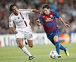 Barcelona's Lionel Messi and AC Milan's Alessandro Nesta during Champions League match on september 13th 2011...Photo: Cesar Cebolla / ALFAQUI