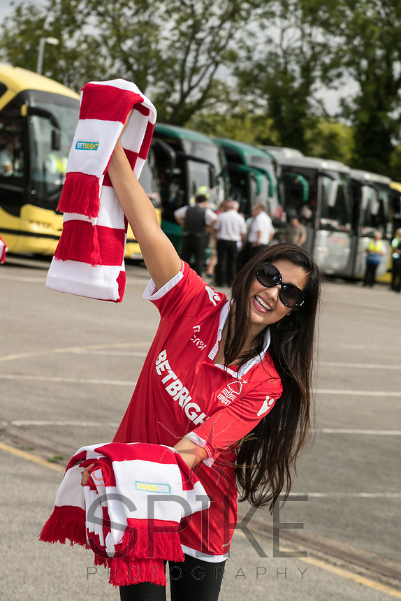 Gurpreet Kaur was handing out free scarves to fans before they boarded the buses to Bristol